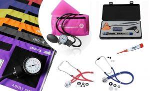 Combi deal; bloeddrumeter, dubbelslangs stethoscoop, otoscoop, penlight, reflexhamer ST-A108