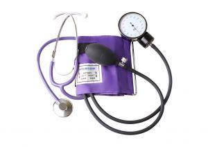 Handmatige bloeddrukmeter (grote en verzwaarde manometer 68 mm) met stethoscoop ST-H036-(LILA)