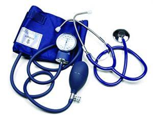 Handmatige bloeddrukmeter (grote en verzwaarde manometer 68 mm) met stethoscoop ST-H036 (blauw)